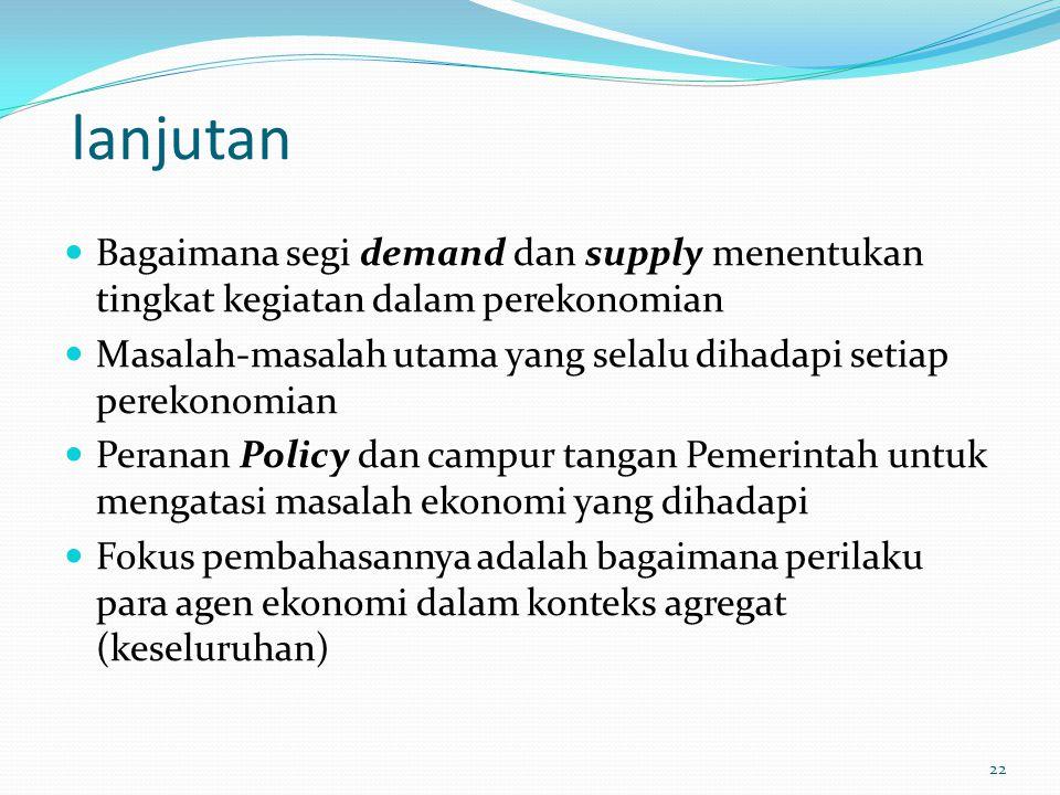 lanjutan Bagaimana segi demand dan supply menentukan tingkat kegiatan dalam perekonomian Masalah-masalah utama yang selalu dihadapi setiap perekonomia