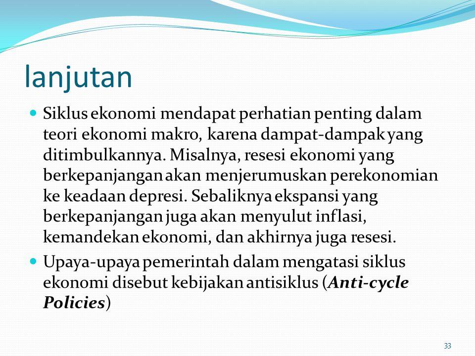 lanjutan Siklus ekonomi mendapat perhatian penting dalam teori ekonomi makro, karena dampat-dampak yang ditimbulkannya. Misalnya, resesi ekonomi yang