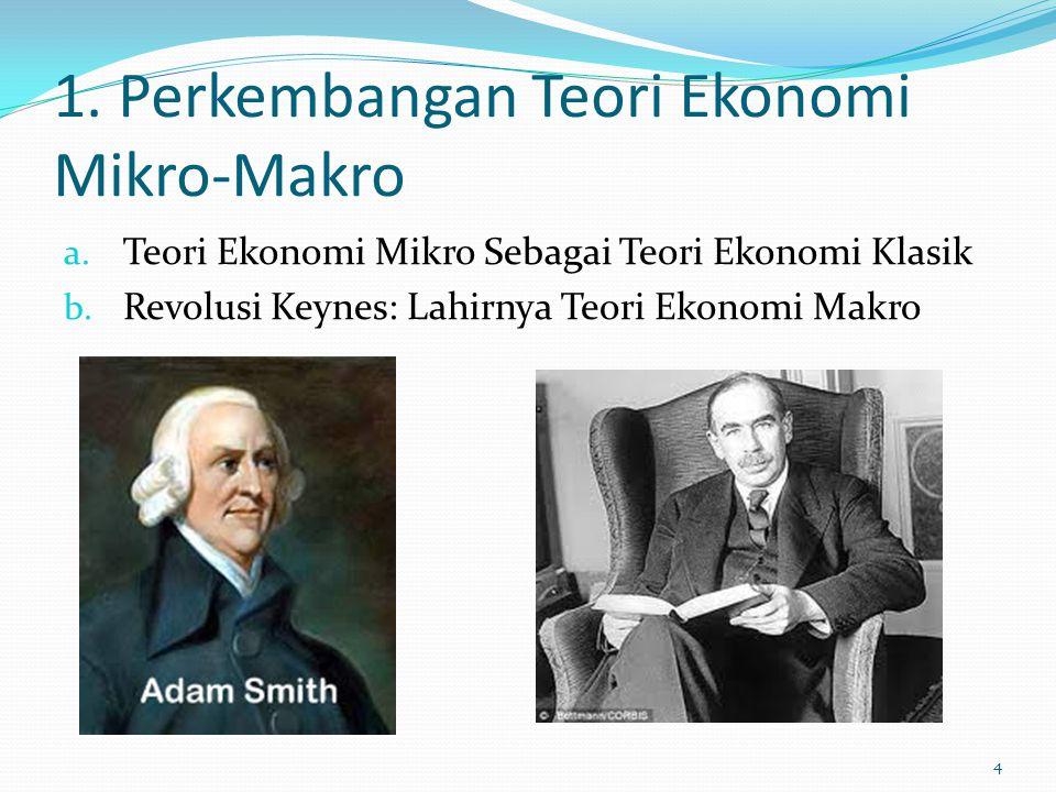 1. Perkembangan Teori Ekonomi Mikro-Makro a. Teori Ekonomi Mikro Sebagai Teori Ekonomi Klasik b. Revolusi Keynes: Lahirnya Teori Ekonomi Makro 4