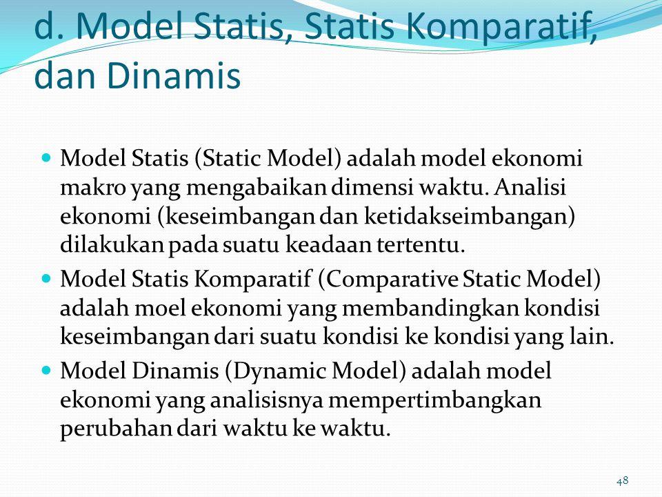 d. Model Statis, Statis Komparatif, dan Dinamis Model Statis (Static Model) adalah model ekonomi makro yang mengabaikan dimensi waktu. Analisi ekonomi