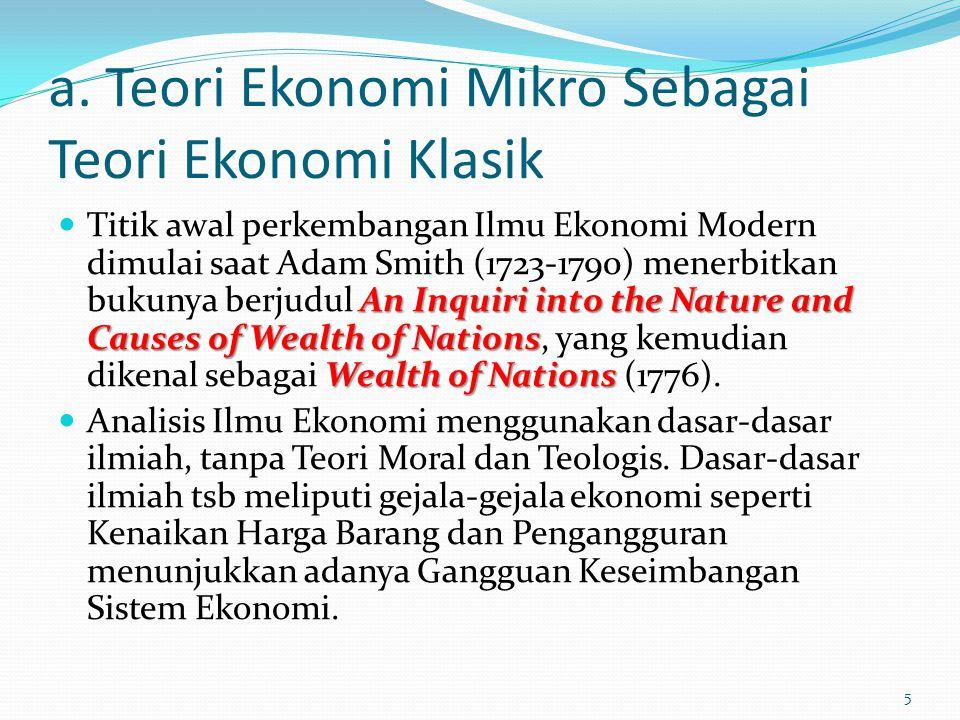 a. Teori Ekonomi Mikro Sebagai Teori Ekonomi Klasik An Inquiri into the Nature and Causes of Wealth of Nations Wealth of Nations Titik awal perkembang