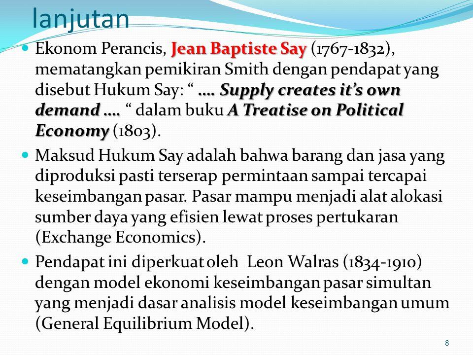 lanjutan Jean Baptiste Say …. Supply creates it's own demand ….A Treatise on Political Economy Ekonom Perancis, Jean Baptiste Say (1767-1832), mematan