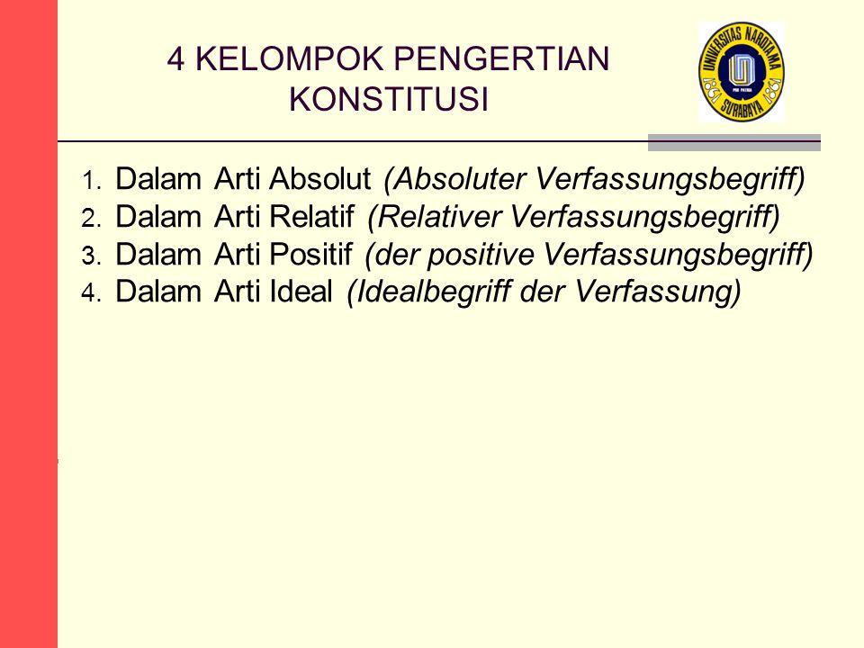4 KELOMPOK PENGERTIAN KONSTITUSI 1. Dalam Arti Absolut (Absoluter Verfassungsbegriff) 2.