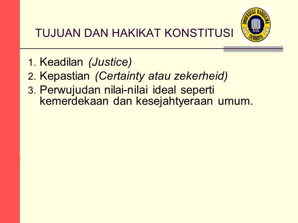 TUJUAN DAN HAKIKAT KONSTITUSI 1. Keadilan (Justice) 2.