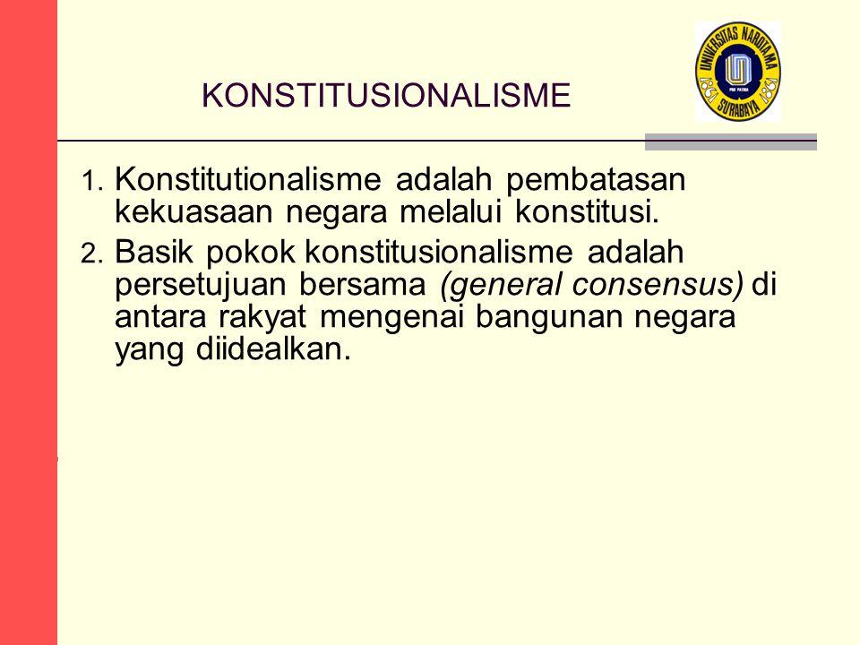 KONSTITUSIONALISME 1. Konstitutionalisme adalah pembatasan kekuasaan negara melalui konstitusi.