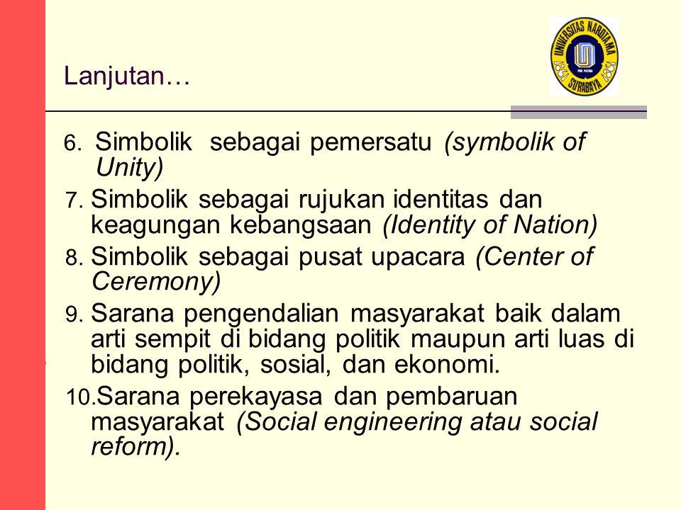 Lanjutan… 6. Simbolik sebagai pemersatu (symbolik of Unity) 7.