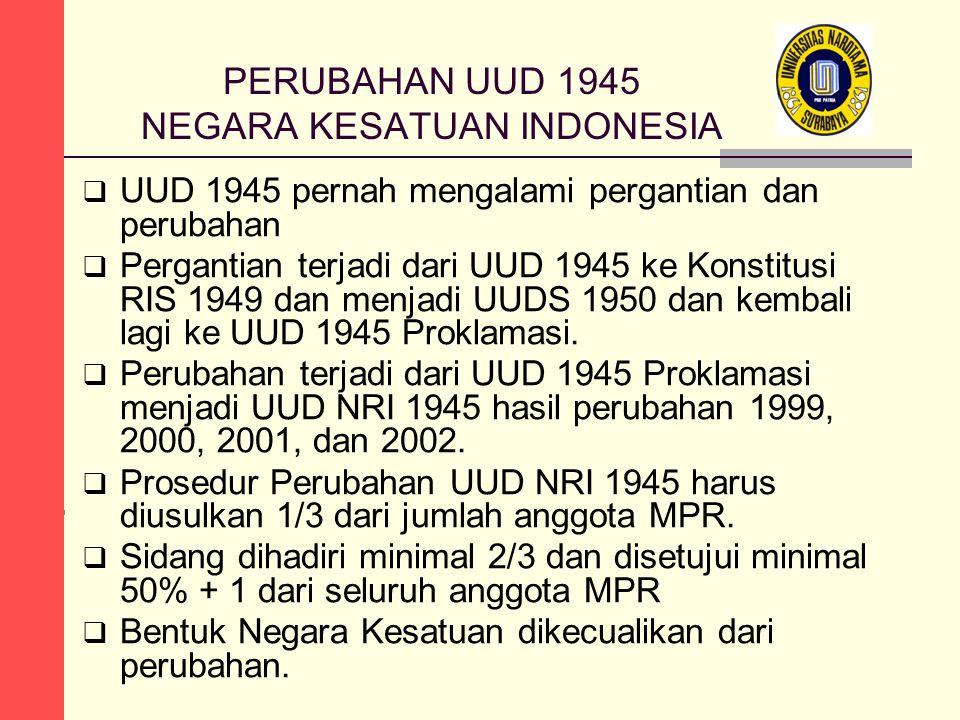 PERUBAHAN UUD 1945 NEGARA KESATUAN INDONESIA  UUD 1945 pernah mengalami pergantian dan perubahan  Pergantian terjadi dari UUD 1945 ke Konstitusi RIS 1949 dan menjadi UUDS 1950 dan kembali lagi ke UUD 1945 Proklamasi.