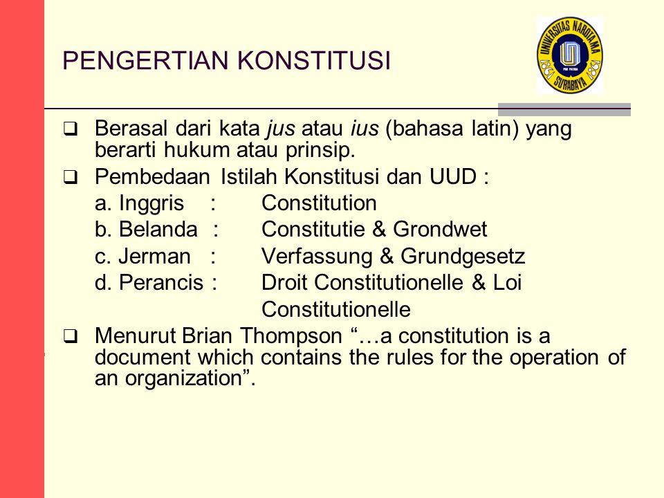 PENGERTIAN KONSTITUSI  Berasal dari kata jus atau ius (bahasa latin) yang berarti hukum atau prinsip.