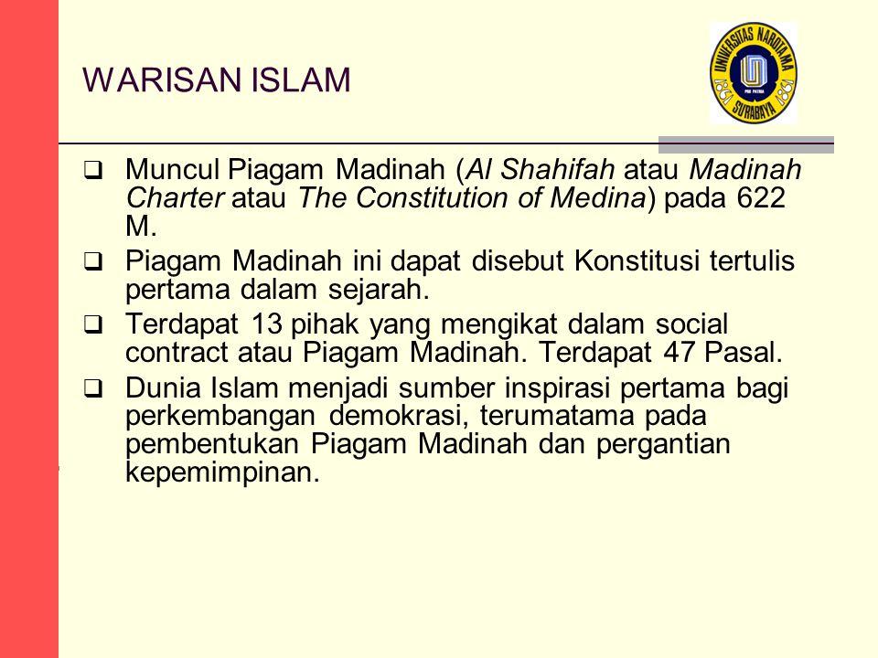 WARISAN ISLAM  Muncul Piagam Madinah (Al Shahifah atau Madinah Charter atau The Constitution of Medina) pada 622 M.