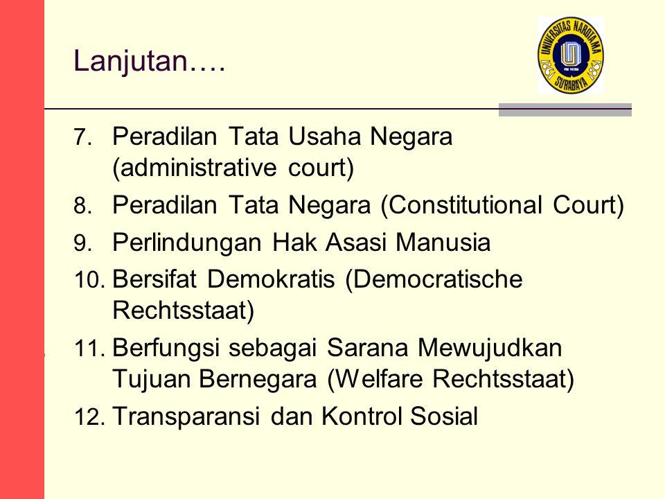 Lanjutan…. 7. Peradilan Tata Usaha Negara (administrative court) 8. Peradilan Tata Negara (Constitutional Court) 9. Perlindungan Hak Asasi Manusia 10.