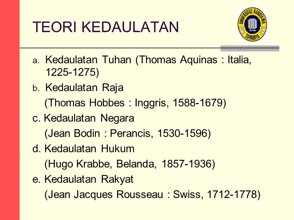 TEORI KEDAULATAN a. Kedaulatan Tuhan (Thomas Aquinas : Italia, 1225-1275) b. Kedaulatan Raja (Thomas Hobbes : Inggris, 1588-1679) c. Kedaulatan Negara