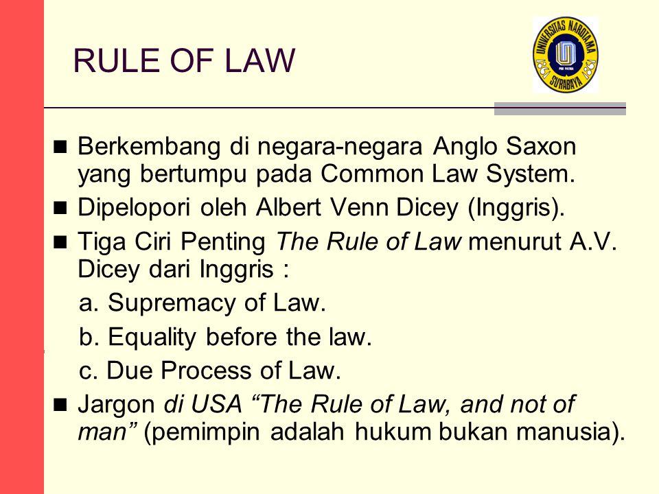 RULE OF LAW Berkembang di negara-negara Anglo Saxon yang bertumpu pada Common Law System. Dipelopori oleh Albert Venn Dicey (Inggris). Tiga Ciri Penti