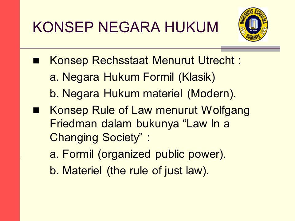 KONSEP NEGARA HUKUM Konsep Rechsstaat Menurut Utrecht : a. Negara Hukum Formil (Klasik) b. Negara Hukum materiel (Modern). Konsep Rule of Law menurut