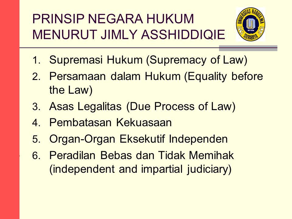 PRINSIP NEGARA HUKUM MENURUT JIMLY ASSHIDDIQIE 1. Supremasi Hukum (Supremacy of Law) 2. Persamaan dalam Hukum (Equality before the Law) 3. Asas Legali