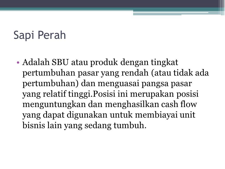 Sapi Perah Adalah SBU atau produk dengan tingkat pertumbuhan pasar yang rendah (atau tidak ada pertumbuhan) dan menguasai pangsa pasar yang relatif tinggi.Posisi ini merupakan posisi menguntungkan dan menghasilkan cash flow yang dapat digunakan untuk membiayai unit bisnis lain yang sedang tumbuh.