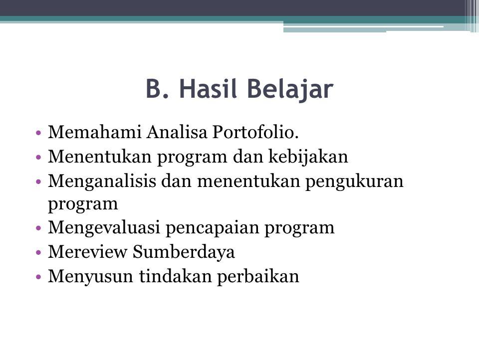 B. Hasil Belajar Memahami Analisa Portofolio. Menentukan program dan kebijakan Menganalisis dan menentukan pengukuran program Mengevaluasi pencapaian
