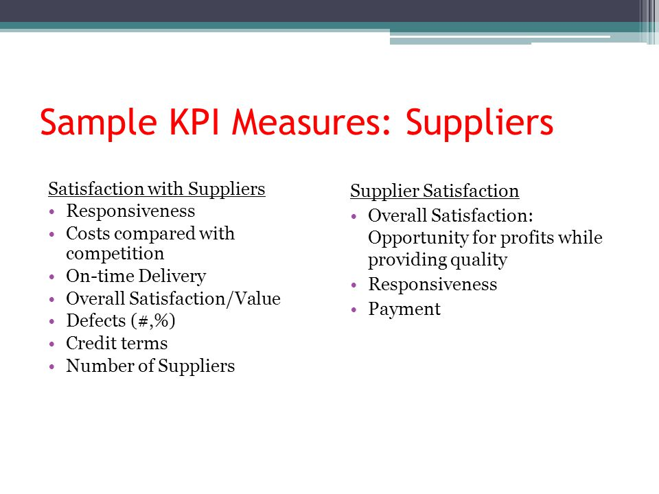 Sample KPI Measures: Suppliers Satisfaction with Suppliers Responsiveness Costs compared with competition On-time Delivery Overall Satisfaction/Value