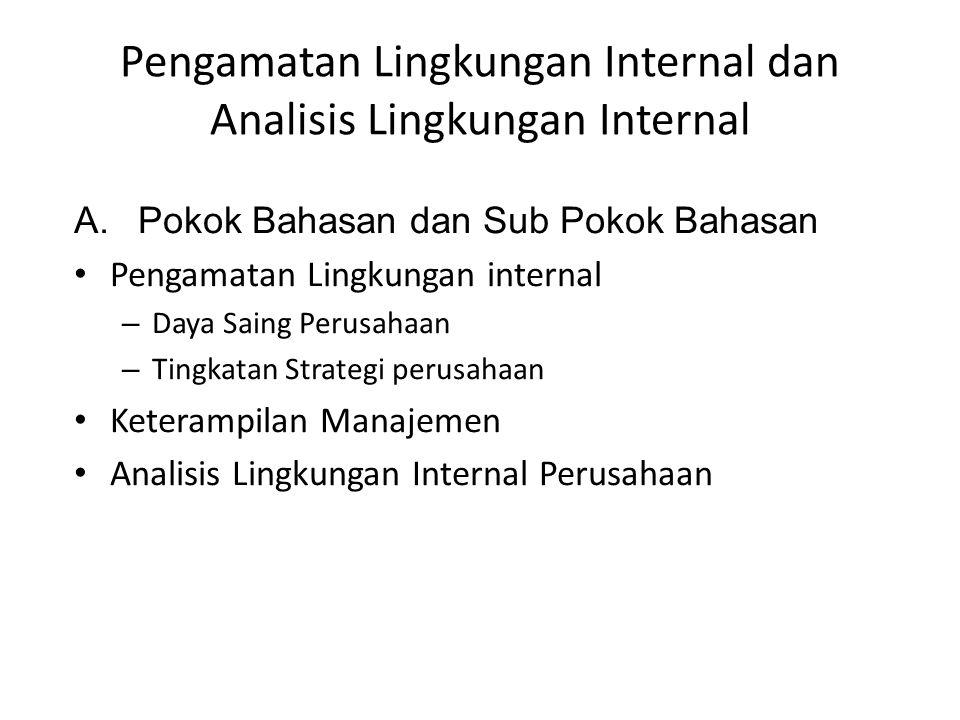 Pengamatan Lingkungan Internal dan Analisis Lingkungan Internal A.Pokok Bahasan dan Sub Pokok Bahasan Pengamatan Lingkungan internal – Daya Saing Peru