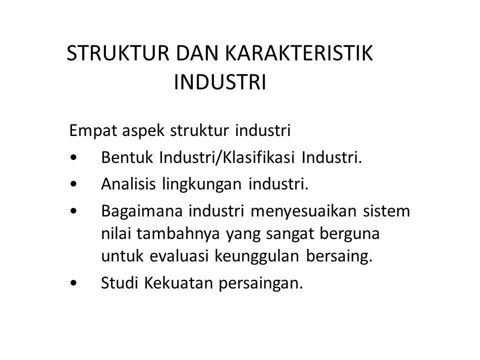 STRUKTUR DAN KARAKTERISTIK INDUSTRI Empat aspek struktur industri Bentuk Industri/Klasifikasi Industri.