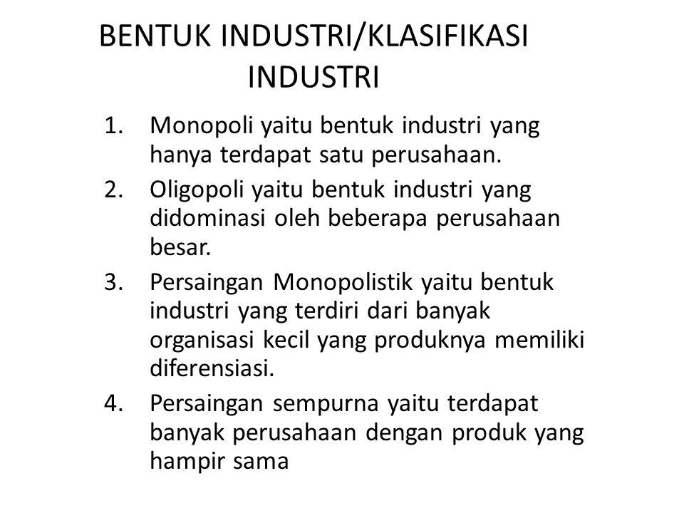 BENTUK INDUSTRI/KLASIFIKASI INDUSTRI 1.Monopoli yaitu bentuk industri yang hanya terdapat satu perusahaan.