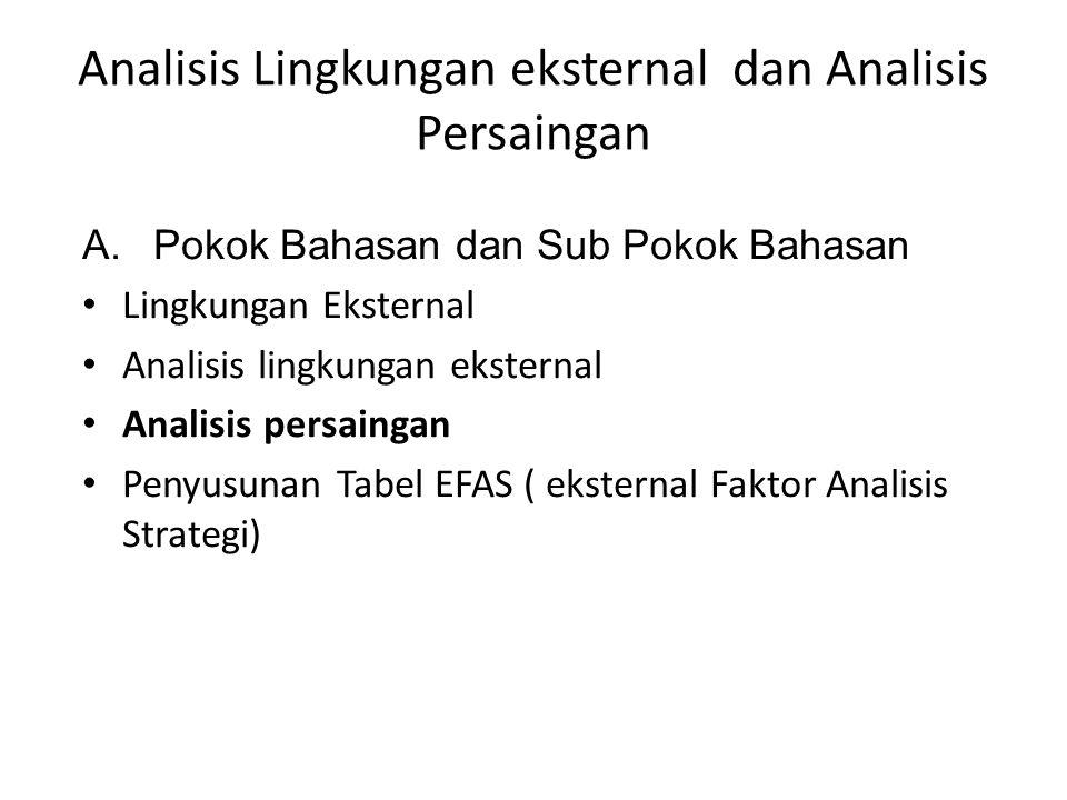 Analisis Lingkungan eksternal dan Analisis Persaingan A.Pokok Bahasan dan Sub Pokok Bahasan Lingkungan Eksternal Analisis lingkungan eksternal Analisis persaingan Penyusunan Tabel EFAS ( eksternal Faktor Analisis Strategi)