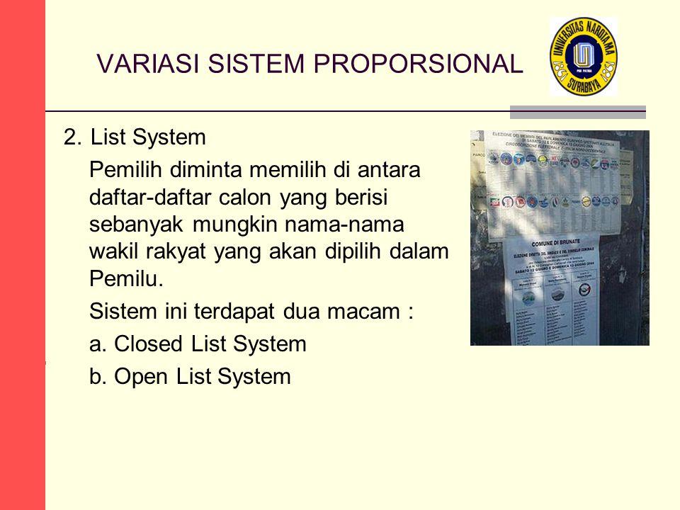 VARIASI SISTEM PROPORSIONAL 2.List System Pemilih diminta memilih di antara daftar-daftar calon yang berisi sebanyak mungkin nama-nama wakil rakyat yang akan dipilih dalam Pemilu.