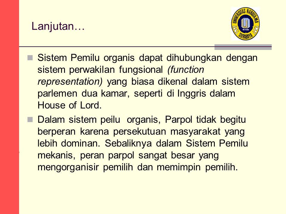 Lanjutan… Sistem Pemilu organis dapat dihubungkan dengan sistem perwakilan fungsional (function representation) yang biasa dikenal dalam sistem parlemen dua kamar, seperti di Inggris dalam House of Lord.
