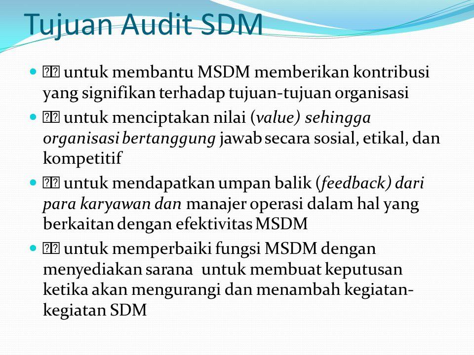 FUNGSI AUDIT SDM Untuk menjustifikasi kegunaan dan nilainya bagi perusahaan, departemen SDM senantiasa perlu melakukan evaluasi secara periodik keefektifan dan efisiensi setiap strategi, kebijakan, program, dan praktik MSDM Meskipun audit SDM secara umum memfokuskan pada departemen SDM, kegiatan ini mencakup studi berbagai fungsi SDM di seluruh jajaran perusahaan, termasuk yang dilaksanakan oleh semua manajer dan penyelia lini