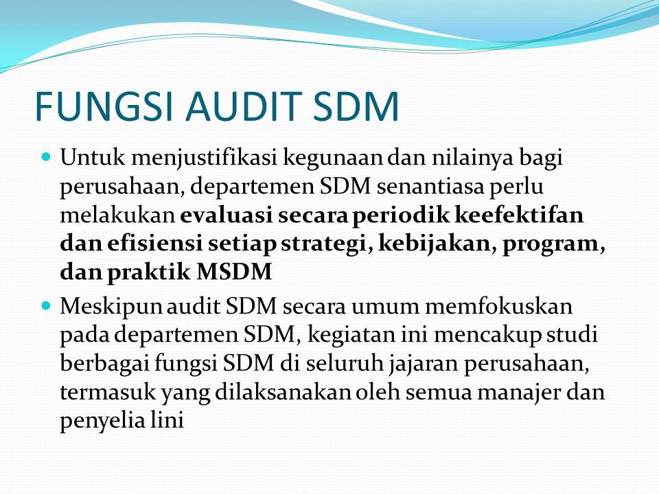 Audit SDM merupakan suatu metode evaluasi untuk menjamin bahwa potensial SDM dikembangkan secara optimal.