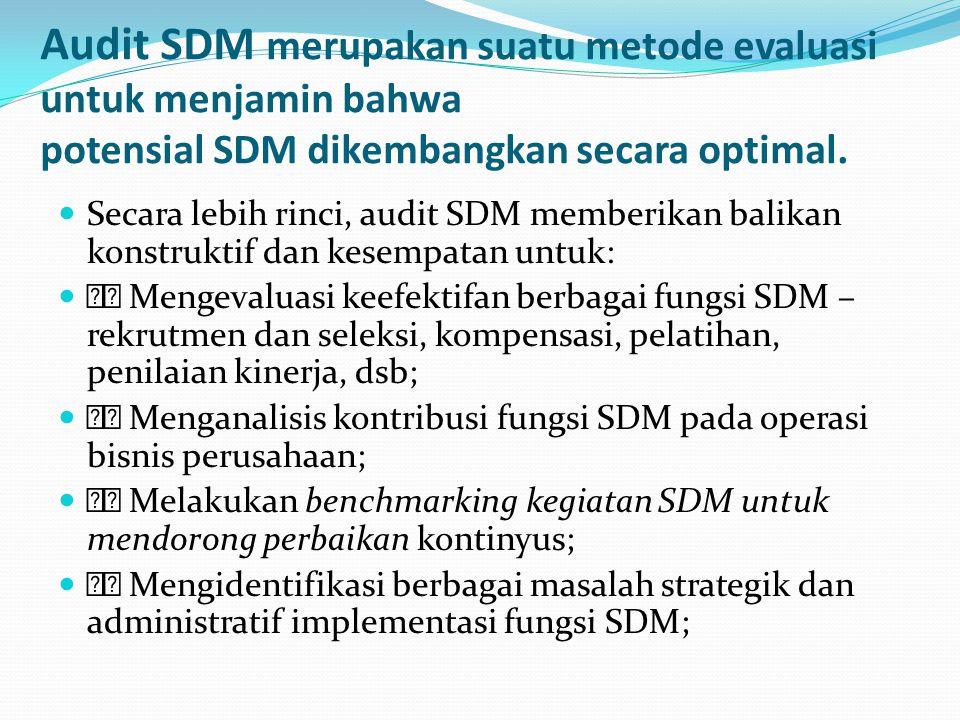 lanjutan Menganalisis kepuasan para pengguna pelayanan departemen SDM; Mengevaluasi ketaatan terhadap berbagai peraturan perundangundangan, kebijakan dan regulasi pemerintah; Meningkatkan keterlibatan fungsi lini dalam implementasi fungsi SDM Mengukur dan menganalisis biaya dan manfaat setiap program dan kegiatan SDM; Memperbaiki kualitas staf SDM; Memfokuskan staf SDM pada berbagai isu penting; dan Mempromosikan perubahan dan kreativitas