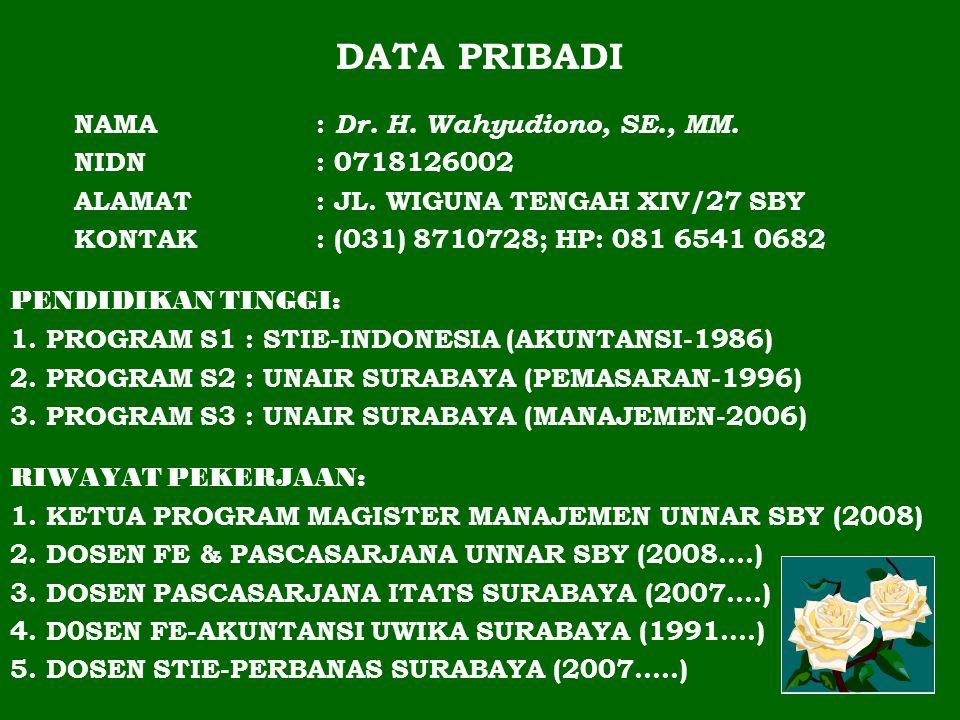 DATA PRIBADI NAMA : Dr.H. Wahyudiono, SE., MM. NIDN : 0718126002 ALAMAT : JL.