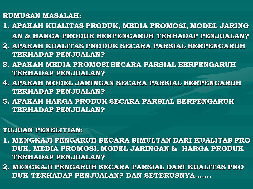 RUMUSAN MASALAH: 1. APAKAH KUALITAS PRODUK, MEDIA PROMOSI, MODEL JARING AN & HARGA PRODUK BERPENGARUH TERHADAP PENJUALAN? 2. APAKAH KUALITAS PRODUK SE