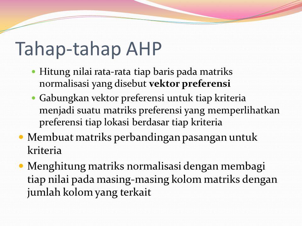 Tahap-tahap AHP Hitung nilai rata-rata tiap baris pada matriks normalisasi yang disebut vektor preferensi Gabungkan vektor preferensi untuk tiap krite