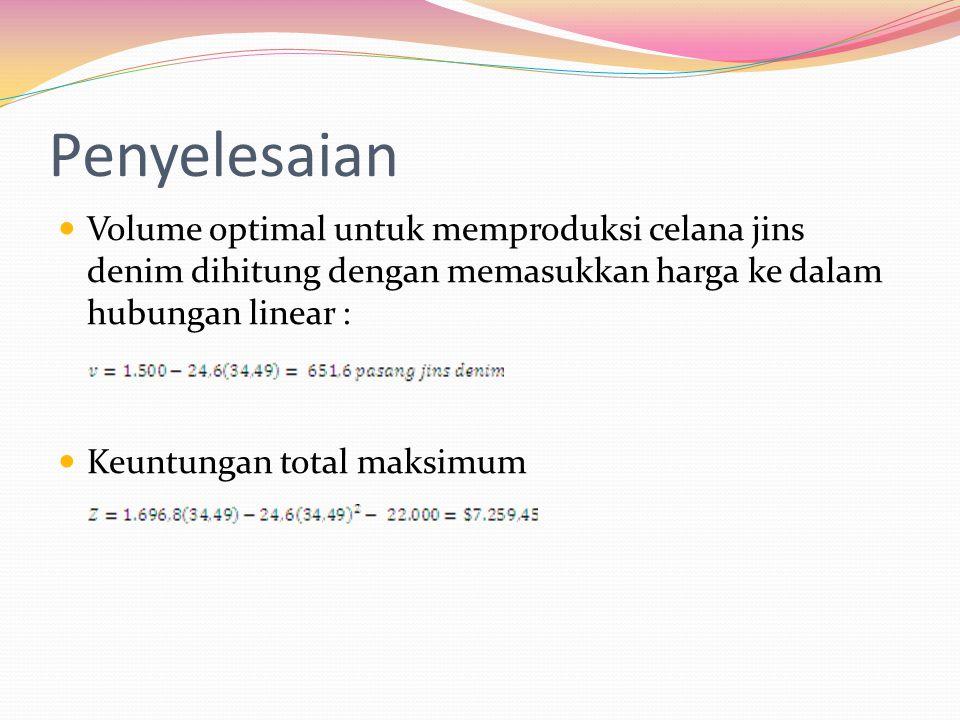 Penyelesaian Volume optimal untuk memproduksi celana jins denim dihitung dengan memasukkan harga ke dalam hubungan linear : Keuntungan total maksimum