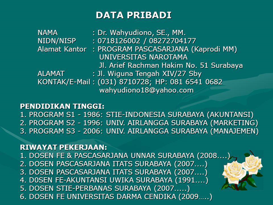 DATA PRIBADI NAMA: Dr. Wahyudiono, SE., MM. NIDN/NISP: 0718126002 / 08272704177 Alamat Kantor: PROGRAM PASCASARJANA (Kaprodi MM) UNIVERSITAS NAROTAMA