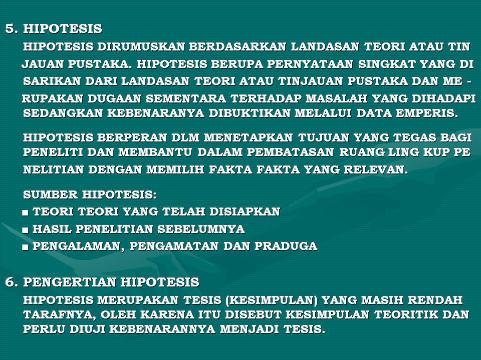 5. HIPOTESIS HIPOTESIS DIRUMUSKAN BERDASARKAN LANDASAN TEORI ATAU TIN JAUAN PUSTAKA. HIPOTESIS BERUPA PERNYATAAN SINGKAT YANG DI JAUAN PUSTAKA. HIPOTE