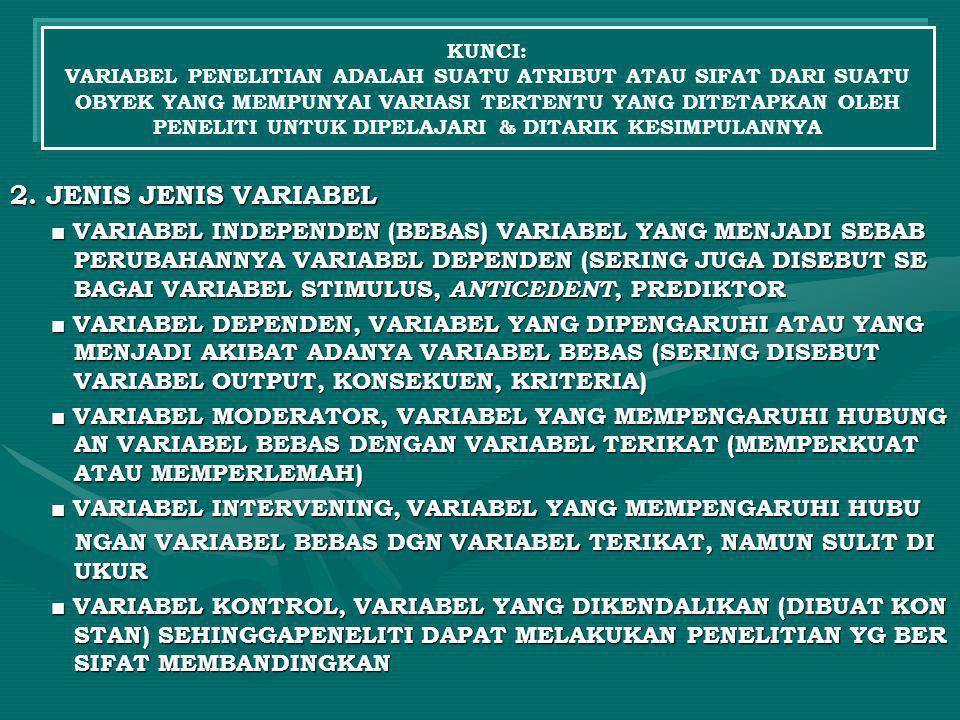 2. JENIS JENIS VARIABEL ■ VARIABEL INDEPENDEN (BEBAS) VARIABEL YANG MENJADI SEBAB PERUBAHANNYA VARIABEL DEPENDEN (SERING JUGA DISEBUT SE BAGAI VARIABE