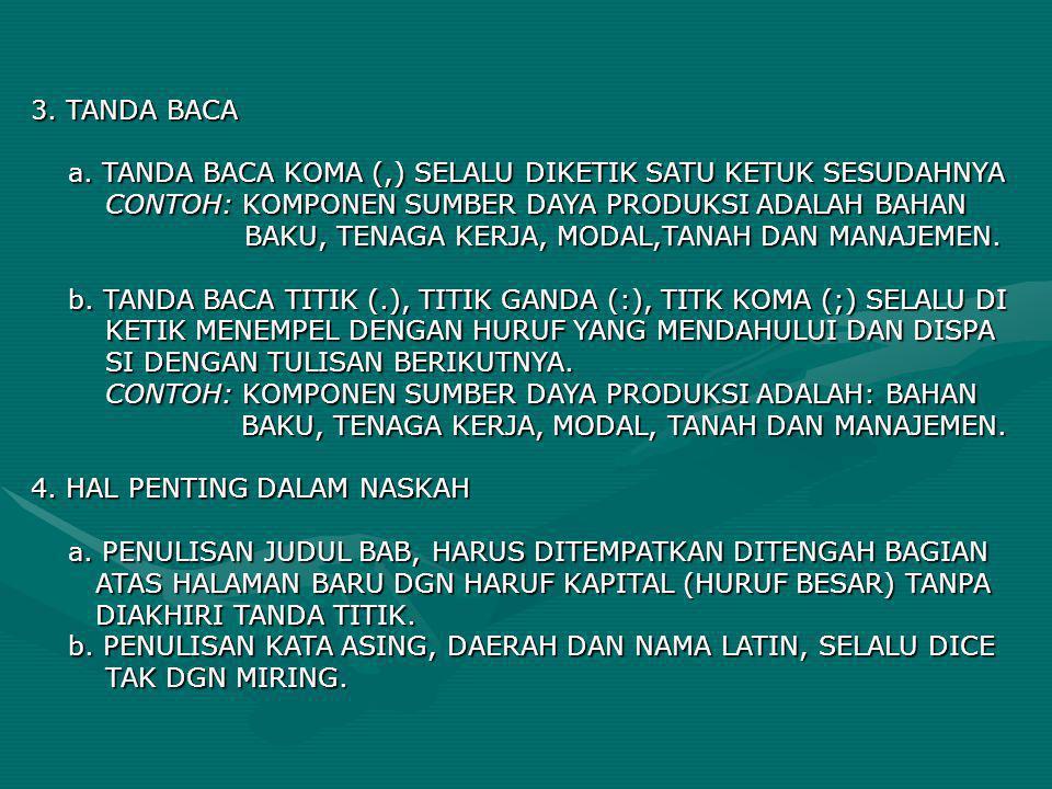 3. TANDA BACA a. TANDA BACA KOMA (,) SELALU DIKETIK SATU KETUK SESUDAHNYA a. TANDA BACA KOMA (,) SELALU DIKETIK SATU KETUK SESUDAHNYA CONTOH: KOMPONEN