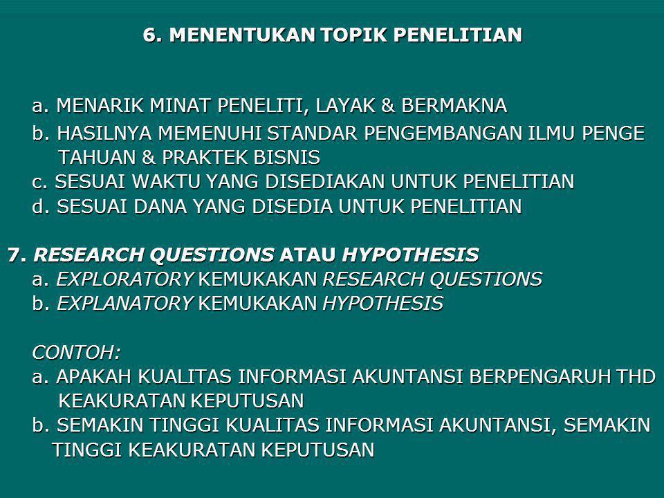 6. MENENTUKAN TOPIK PENELITIAN a. MENARIK MINAT PENELITI, LAYAK & BERMAKNA b. HASILNYA MEMENUHI STANDAR PENGEMBANGAN ILMU PENGE TAHUAN & PRAKTEK BISNI