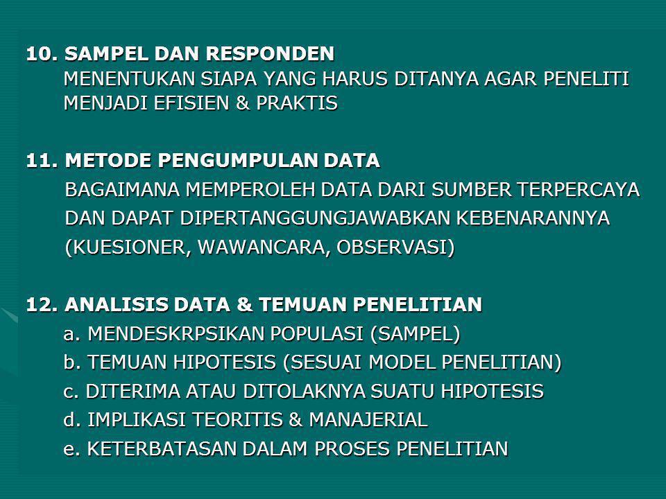 10. SAMPEL DAN RESPONDEN MENENTUKAN SIAPA YANG HARUS DITANYA AGAR PENELITI MENJADI EFISIEN & PRAKTIS 11. METODE PENGUMPULAN DATA BAGAIMANA MEMPEROLEH