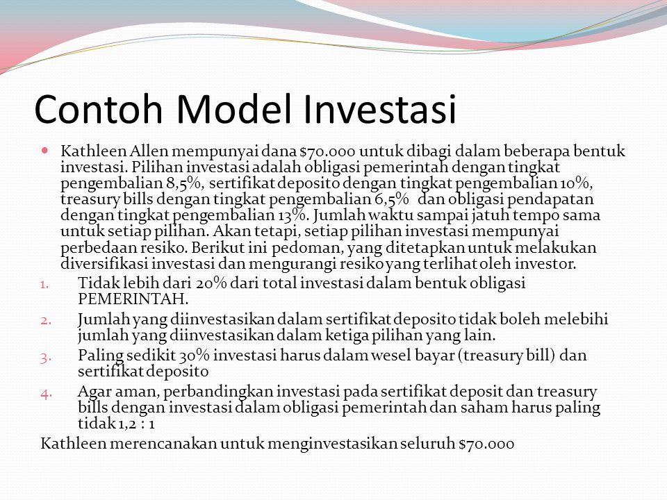 Contoh Model Investasi Kathleen Allen mempunyai dana $70.000 untuk dibagi dalam beberapa bentuk investasi. Pilihan investasi adalah obligasi pemerinta
