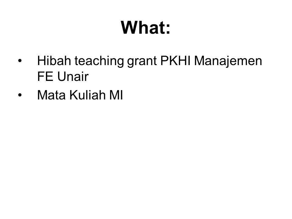 What: Hibah teaching grant PKHI Manajemen FE Unair Mata Kuliah MI