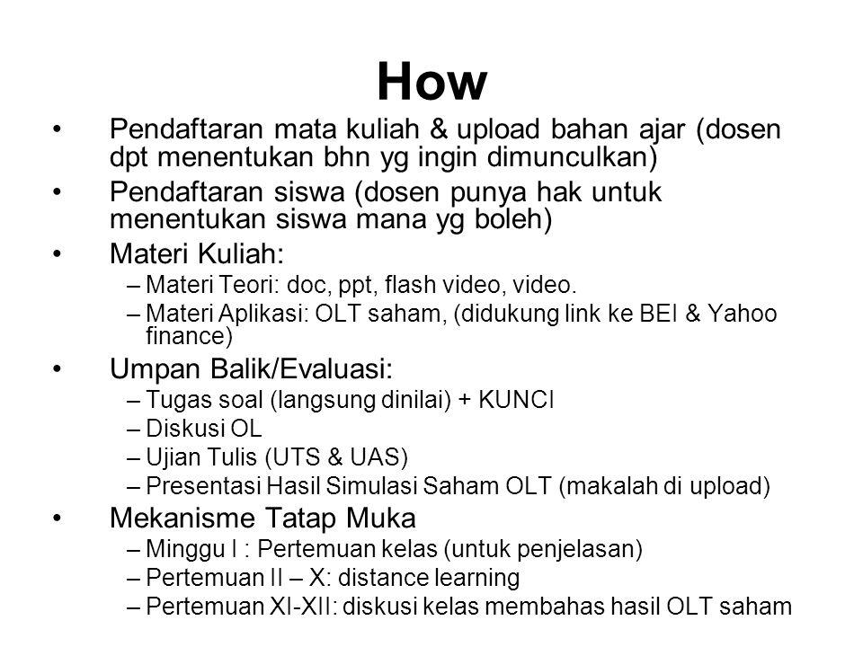 How Pendaftaran mata kuliah & upload bahan ajar (dosen dpt menentukan bhn yg ingin dimunculkan) Pendaftaran siswa (dosen punya hak untuk menentukan si