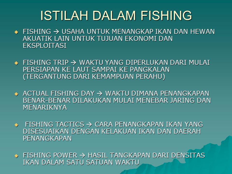 FISHING INTENSITY  INTENSITAS PENANGKAPAN YANG BERHUBUNGAN DENGAN FISHING EFFORT DALAM SUATU AREA FISHING EFFORT  JUMLAH TOTAL ALAT PENANGKAPAN YANG DIPAKAI DALAM SATU-SATUAN WAKTU EXPLOITATION FISHING  KEGIATAN PENANGKAPAN YANG DILAKUKAN PADA SUATU DAERAH YANG DAPAT DIBAGI ATAS KEGIATAN PENANGKAPAN PADA DAERAH YANG BELUM DIKETAHUI DAN KEGIATAN UNTUK TUJUAN SURVEY EXPERIMENTAL FISHING  PENANGKAPAN PERCOBAAN PADA SUATU DAERAH YANG SUDAH DIKETAHUI DEMONSTRATION FISHING  KEGIATAN PENANGKAPAN UNTUK MENYEBARLUASKAN ALAT PENANGKAPAN TERBAIK SELECTIVITAS FISHING  KOMPOSISI DARI PADA HASIL TANGKAPAN PADA ALAT TERTENTU DITINJAU DARI JENIS DAN UKURAN ALAT CATCH ABILITY  BAGIAN DARI PADA STOCK IKAN YANG DITANGKAP OLEH SATU UNIT EFFORT