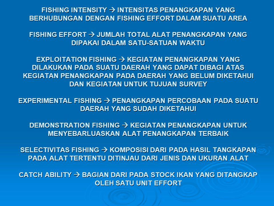 FISHING INTENSITY  INTENSITAS PENANGKAPAN YANG BERHUBUNGAN DENGAN FISHING EFFORT DALAM SUATU AREA FISHING EFFORT  JUMLAH TOTAL ALAT PENANGKAPAN YANG