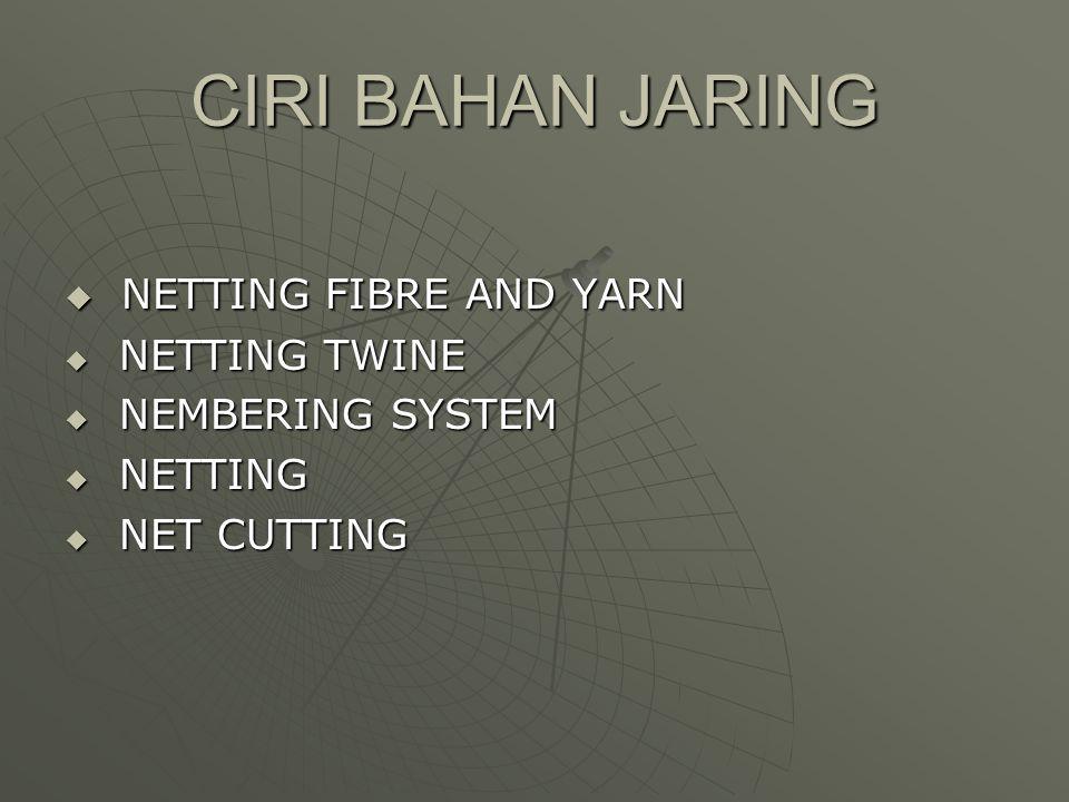 CIRI BAHAN JARING  NETTING FIBRE AND YARN  NETTING TWINE  NEMBERING SYSTEM  NETTING  NET CUTTING