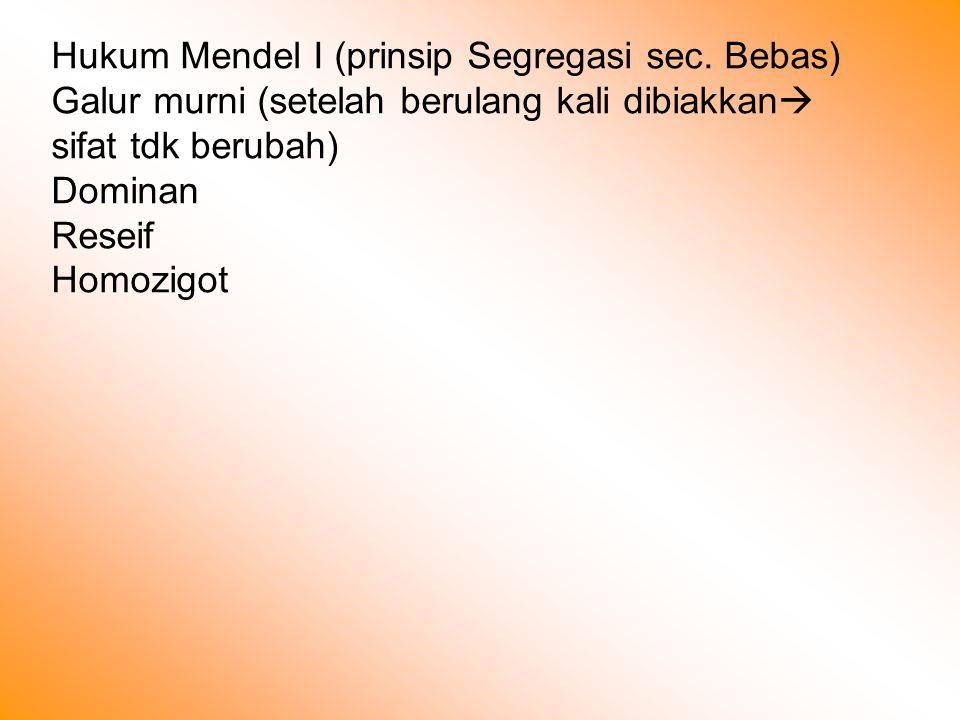Hukum Mendel I (prinsip Segregasi sec.