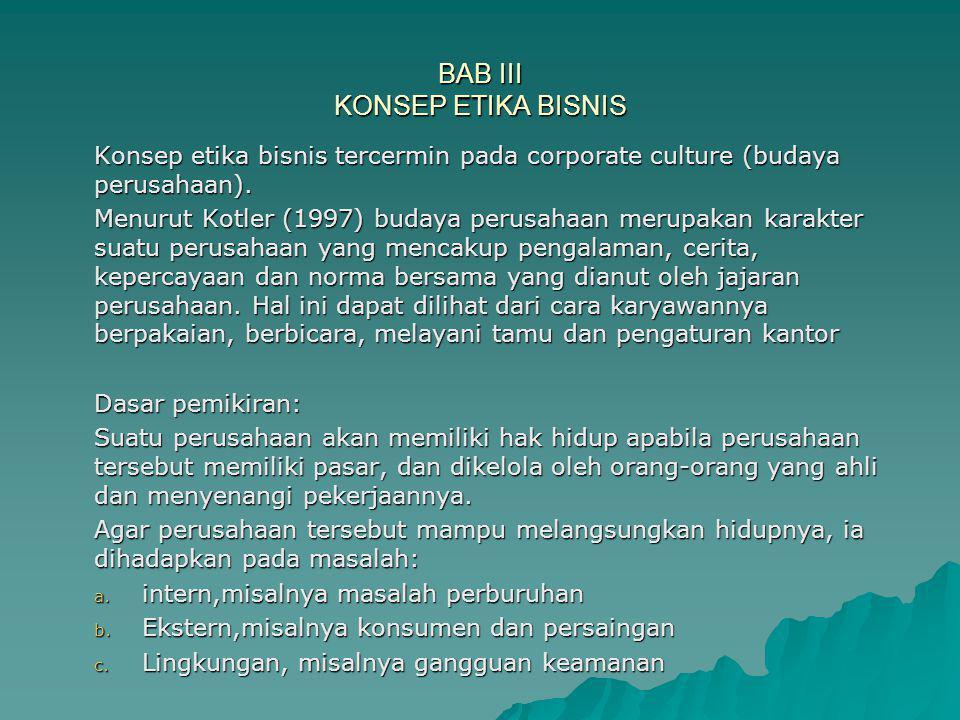 BAB III KONSEP ETIKA BISNIS Konsep etika bisnis tercermin pada corporate culture (budaya perusahaan). Menurut Kotler (1997) budaya perusahaan merupaka