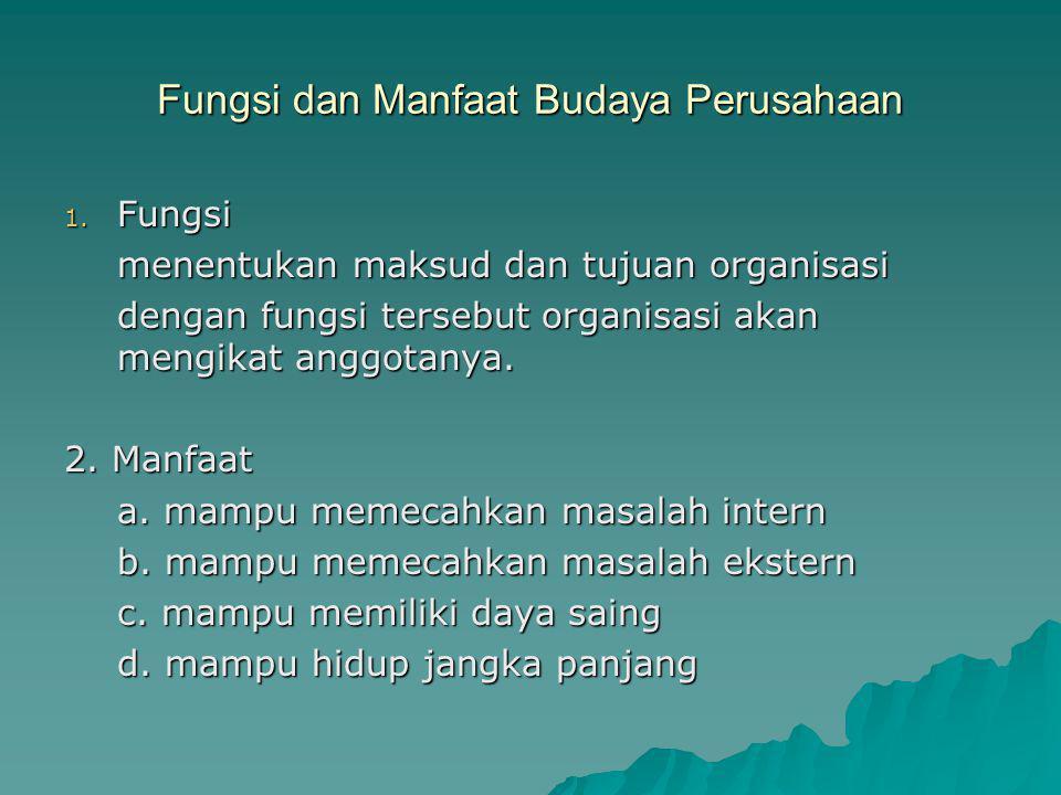 Fungsi dan Manfaat Budaya Perusahaan 1. Fungsi menentukan maksud dan tujuan organisasi dengan fungsi tersebut organisasi akan mengikat anggotanya. 2.
