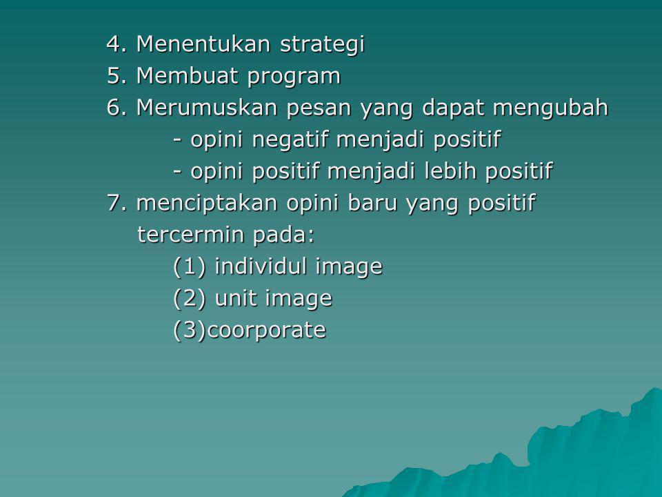 4. Menentukan strategi 5. Membuat program 6. Merumuskan pesan yang dapat mengubah - opini negatif menjadi positif - opini positif menjadi lebih positi
